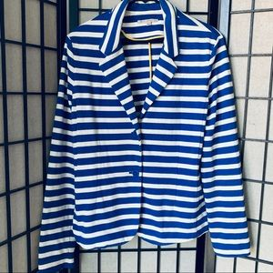 Gap blue white striped cotton blazer sz XL